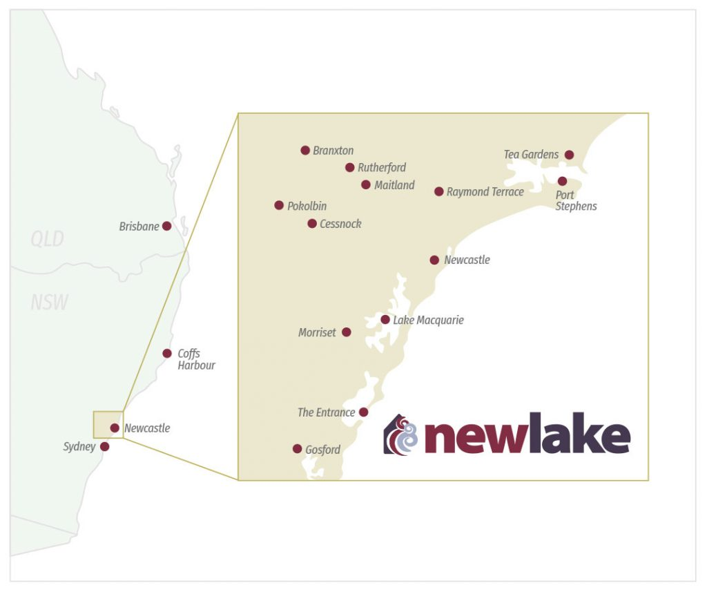 Newlake service areas NSW - Tea Gardens, Port Stephens, Raymond Terrace, Maitland, Rutherford. Branxton, Pokolbin, Cessnock, Newcastle, Lake Macquarie, Morriset, The Entrance, Gosford